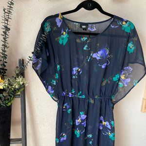 3/$15 Mossimo Navy Floral Sheer Dress Sz S